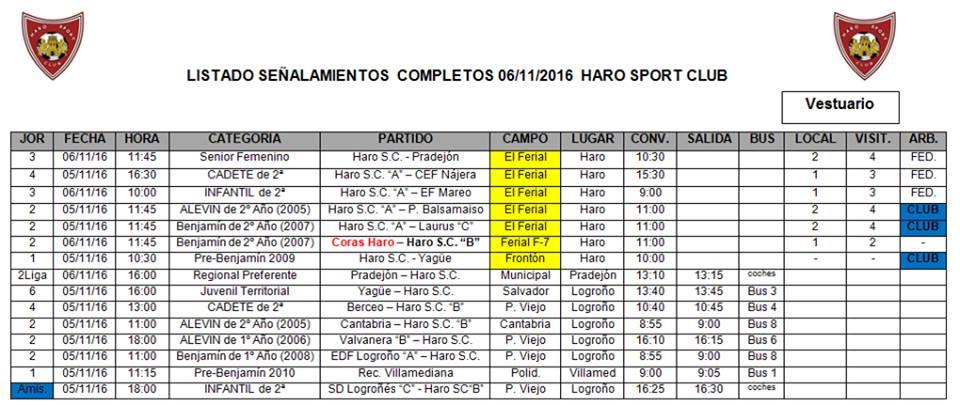 Señalamientos de los partidos del Haro Sport Club para este fin de semana | HSC