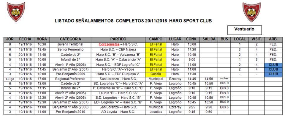Señalamientos de los partidos del fin de semana de los equipos del Haro Sport Club | HSC