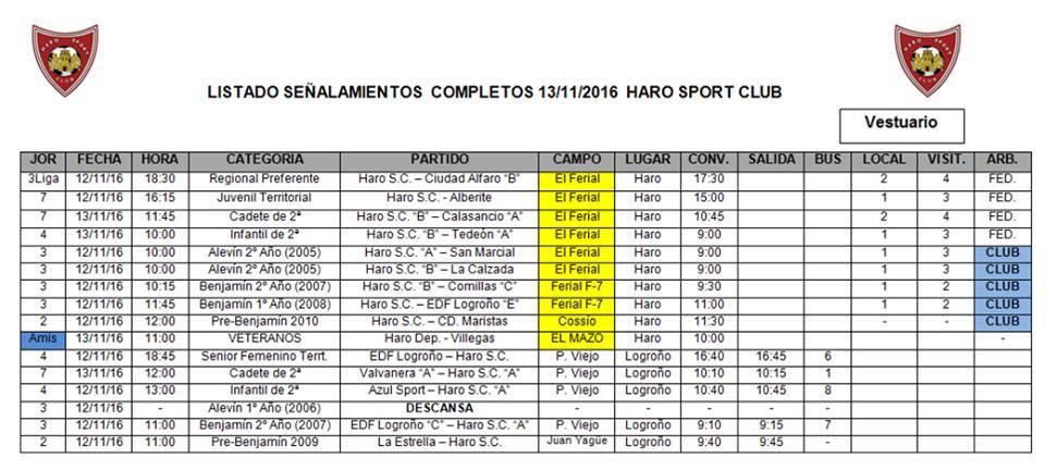 Señalamientos de los encuentros de los equipos del Haro Sport Club | HSC