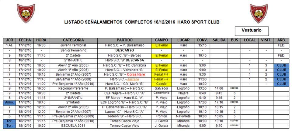 Horarios de los demás partidos del Haro Sport Club | Facebook HSC