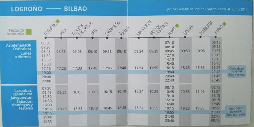 Ya son oficiales los horarios de la línea Bilbao-Logroño de CuadraBus con parada en Haro 1