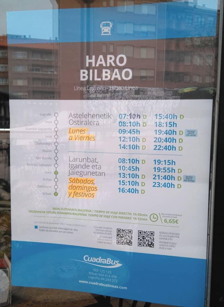 Ya son oficiales los horarios de la línea Bilbao-Logroño de CuadraBus con parada en Haro 3