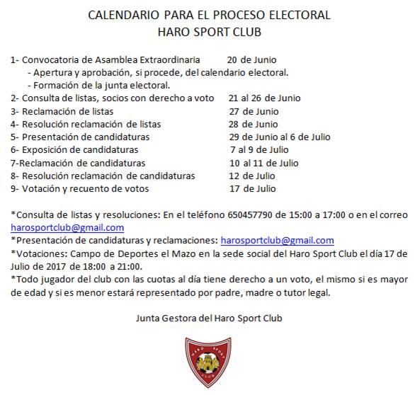 El Haro Sport Club convoca elecciones a la presidencia 1