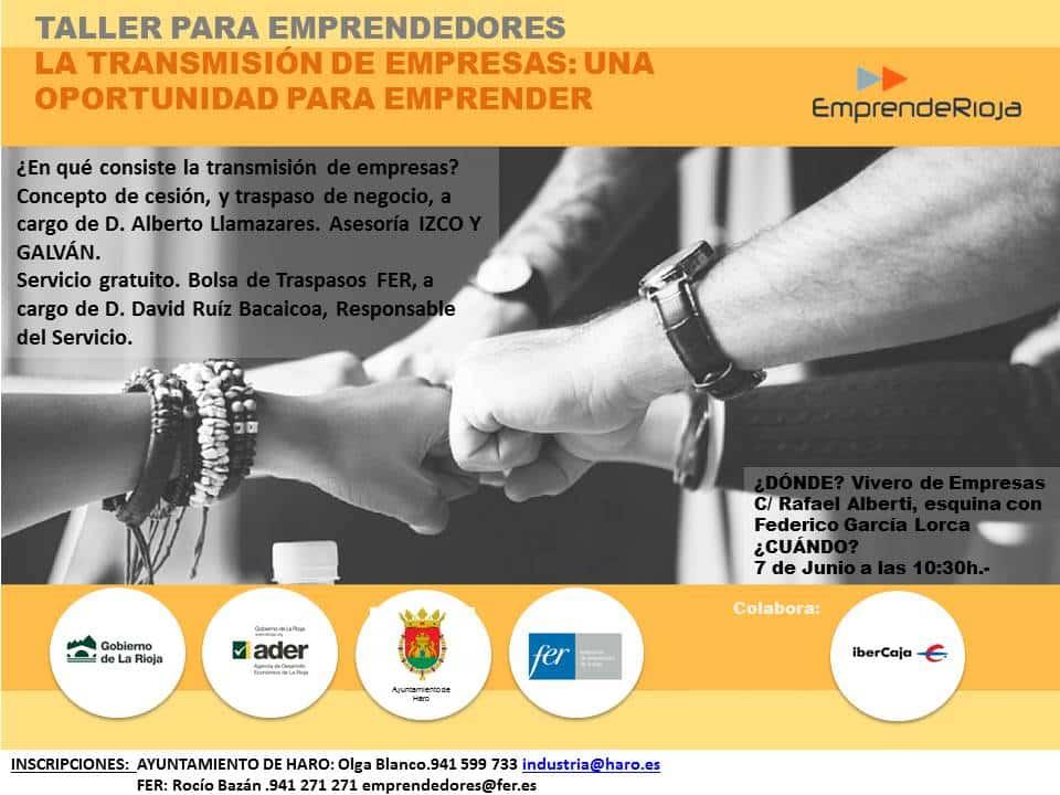 'La transmisión de empresas: una nueva oportunidad para emprender', el nuevo taller del Plan EmprendeRioja en Haro 1