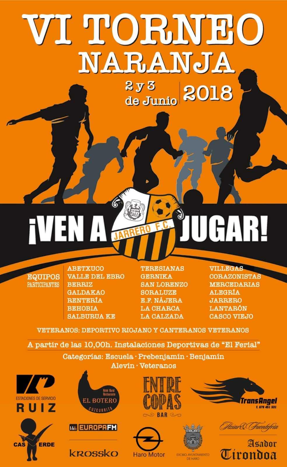 Los días 2 y 3 de junio, VI Torneo Naranja organizado por el Jarrero en El Ferial 1