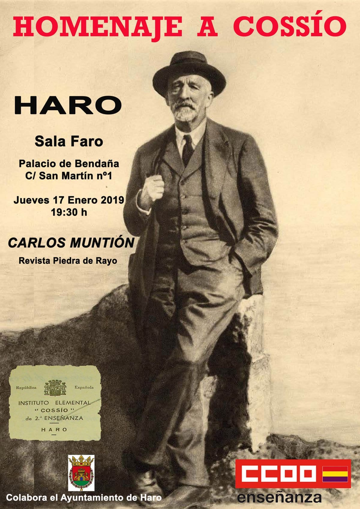 Conferencia este jueves en Haro en homenaje a Manuel Bartolomé Cossío 1