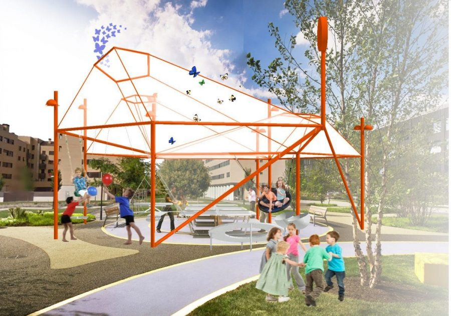 Iniciada la obra para cubrir el parque infantil de El Mazo 3