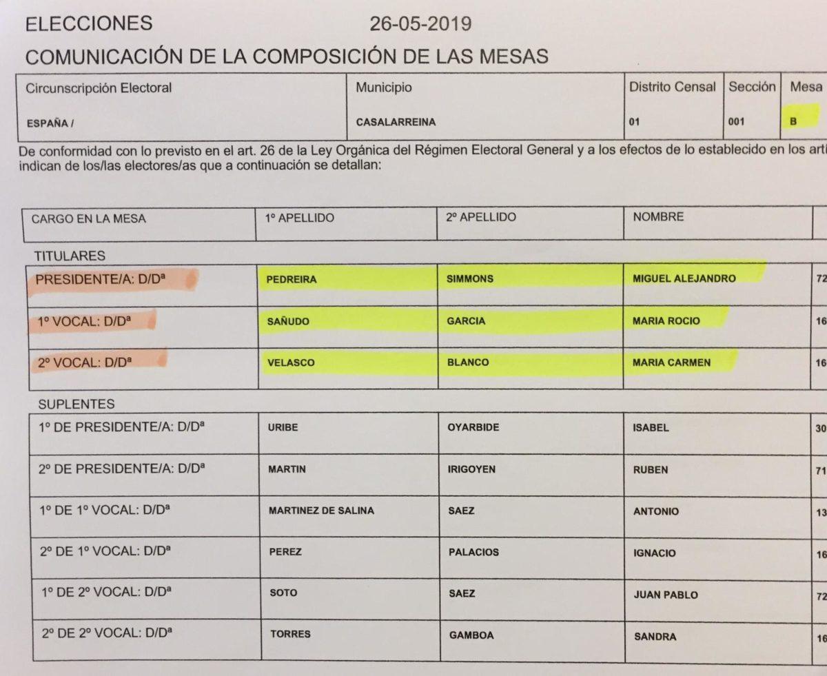 Las mesas electorales en Casalarreina para el 26-M 2