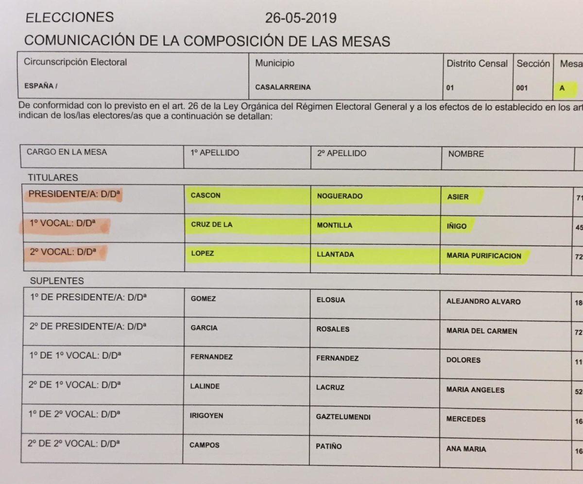Las mesas electorales en Casalarreina para el 26-M 1