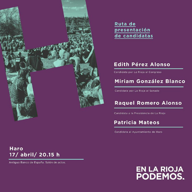 Mateos pasa a ser segunda en la lista de Unidas Podemos y Arantxa Carrero, nueva candidata a la Alcaldía de Haro 1