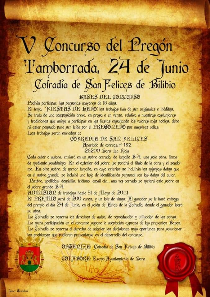 Convocado el V Concurso del Pregón-Tamborrada de la Cofradía de San Felices 1