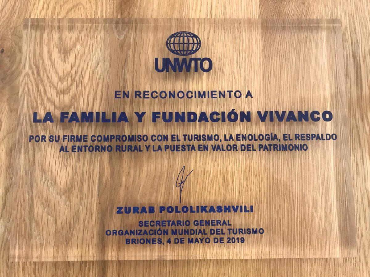 La Organización Mundial del Turismo entrega a la Fundación Vivanco el Premio Ulises 1