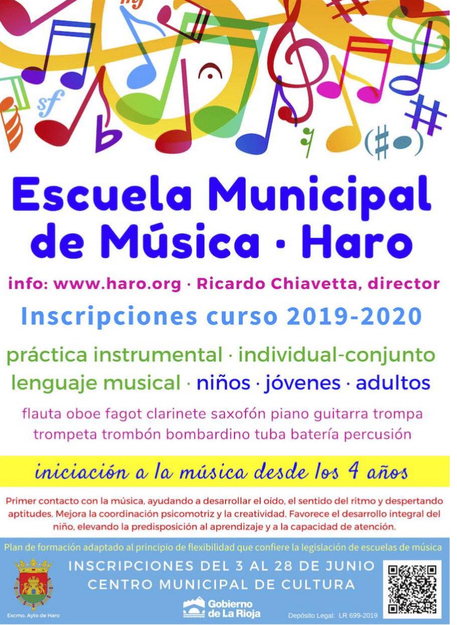 Abierto el periodo de inscripción de la Escuela Municipal de Música de Haro 1