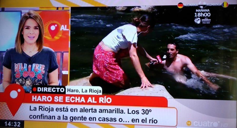 Haro se echa al río en 'Cuatro' por la ola de calor 1
