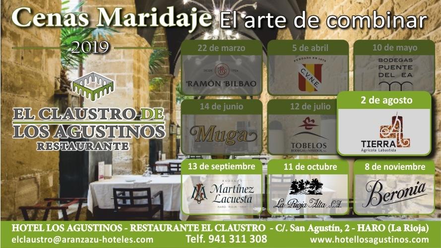 Cenas Maridaje en Los Agustinos: este viernes Tobelos y en agosto, Bodegas Tierra 1