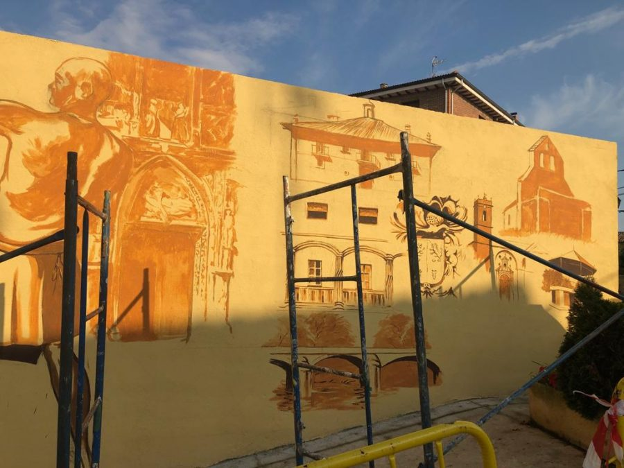 El patrimonio de Casalarreina, a todo color en un mural de José Uríszar 1