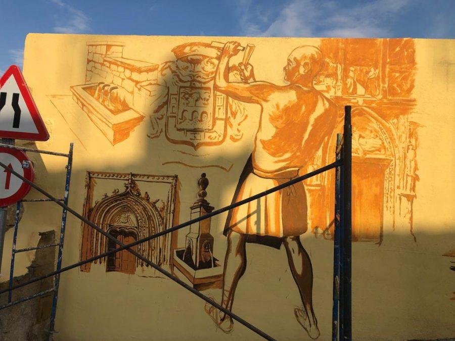 El patrimonio de Casalarreina, a todo color en un mural de José Uríszar 3