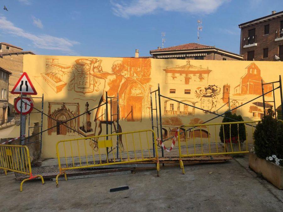 El patrimonio de Casalarreina, a todo color en un mural de José Uríszar 4