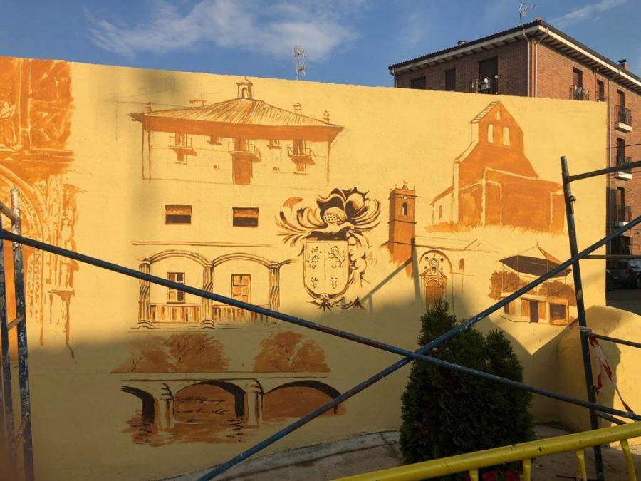 El patrimonio de Casalarreina, a todo color en un mural de José Uríszar 5