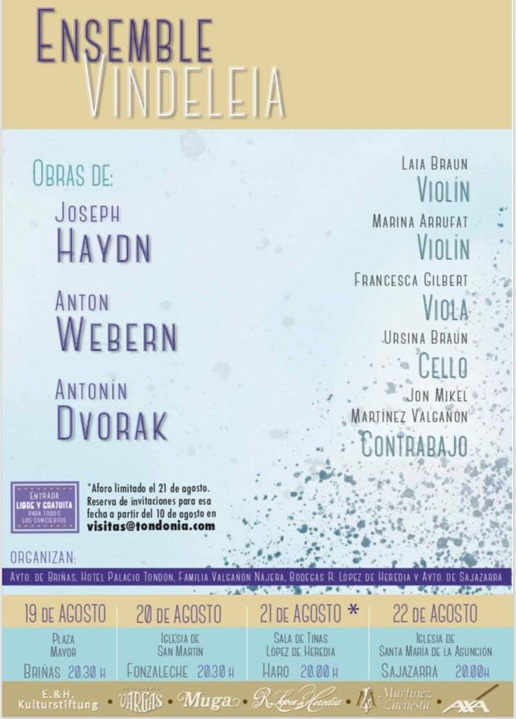 La música de Ensemble Vindeleia volverá a resonar en La Rioja Alta 2
