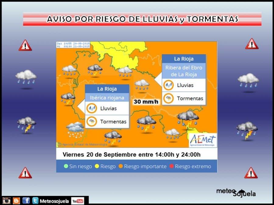 Aviso de nivel naranja por lluvias y tormentas en toda La Rioja 1