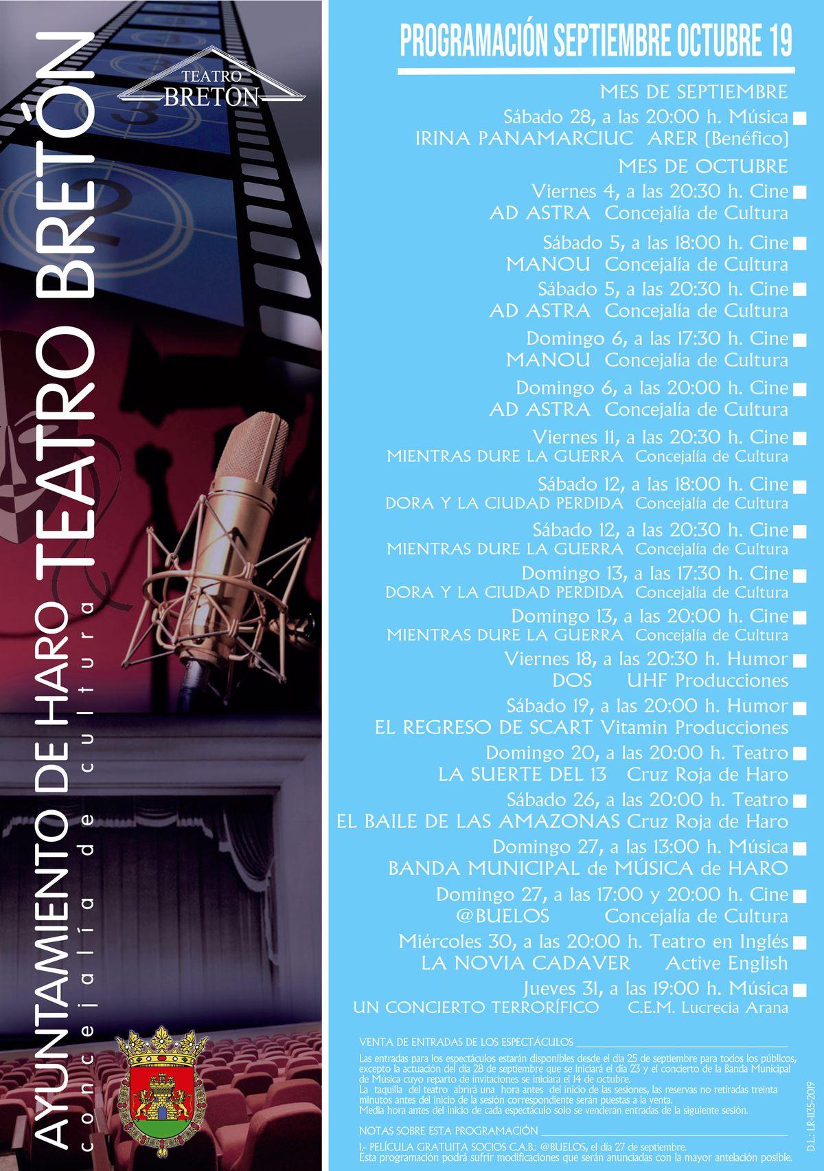 Cine, música y teatro centran la programación de octubre del teatro Bretón de Haro 1