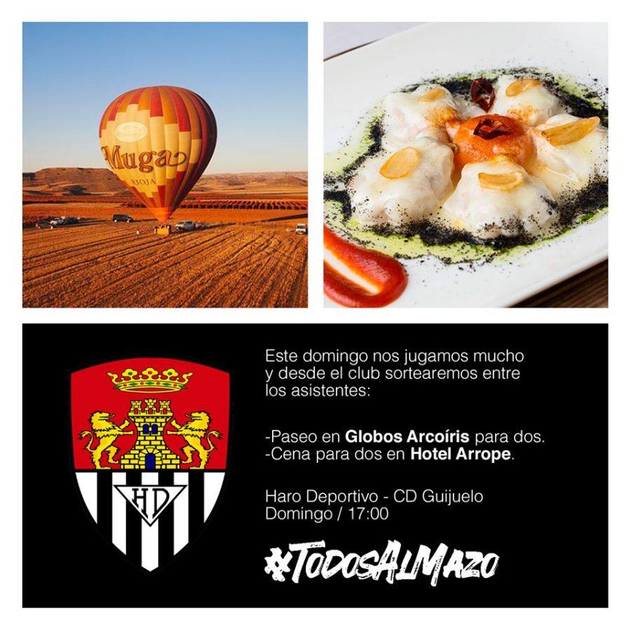 El Haro Deportivo sorteará un viaje en globo y una cena en el partido contra el Guijuelo 1