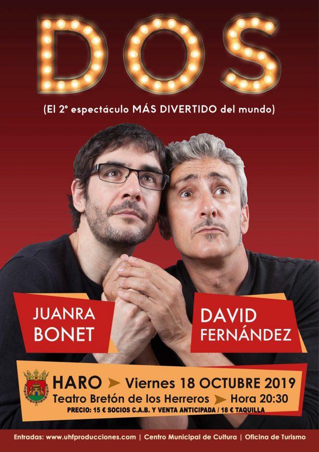 Los televisivos Juanra Bonet y David Fernández ofrecen este viernes su espectáculo 'Dos' en el Bretón de Haro 1