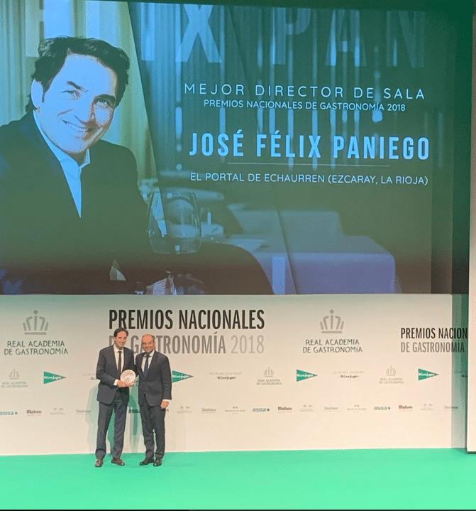 José Félix Paniego, Premio Nacional de Gastronomía al Mejor Jefe de Sala 1