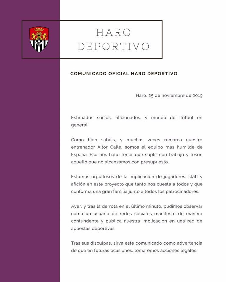 El Haro avisa que si vuelven a implicar al club en apuestas deportivas, tomará acciones legales 1