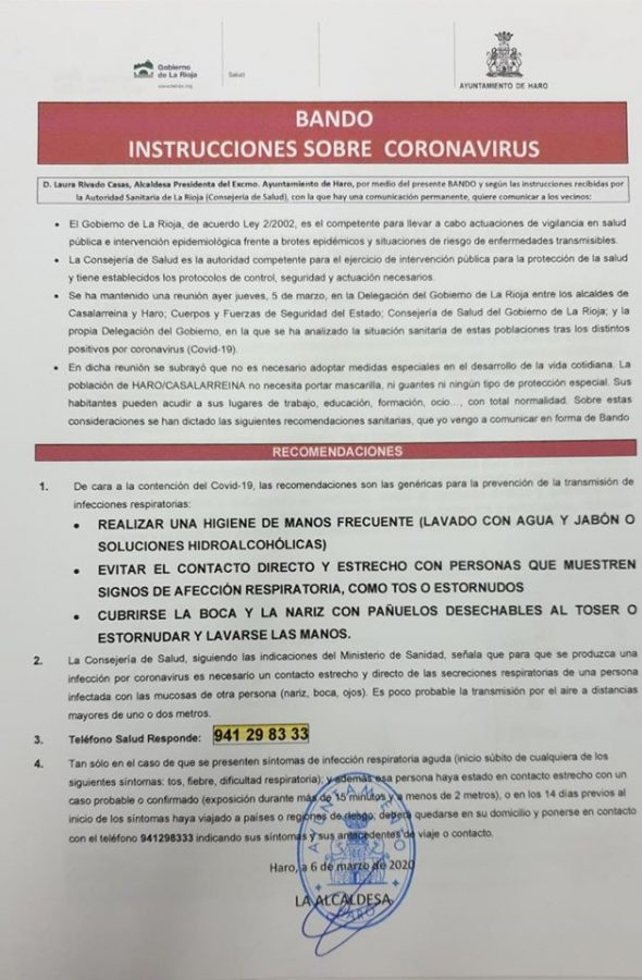 Salud toma medidas contra el coronavirus en Haro: actividades a cubierto, suspendidas 2
