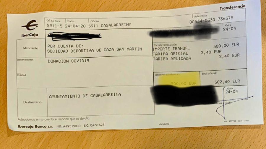La Sociedad de Caza San Martín dona 500 euros a Casalarreina para la lucha contra el coronavirus 1
