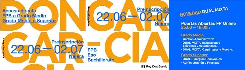 El IES Rey Don García de Nájera organiza este jueves una sesión online de puertas abiertas 1
