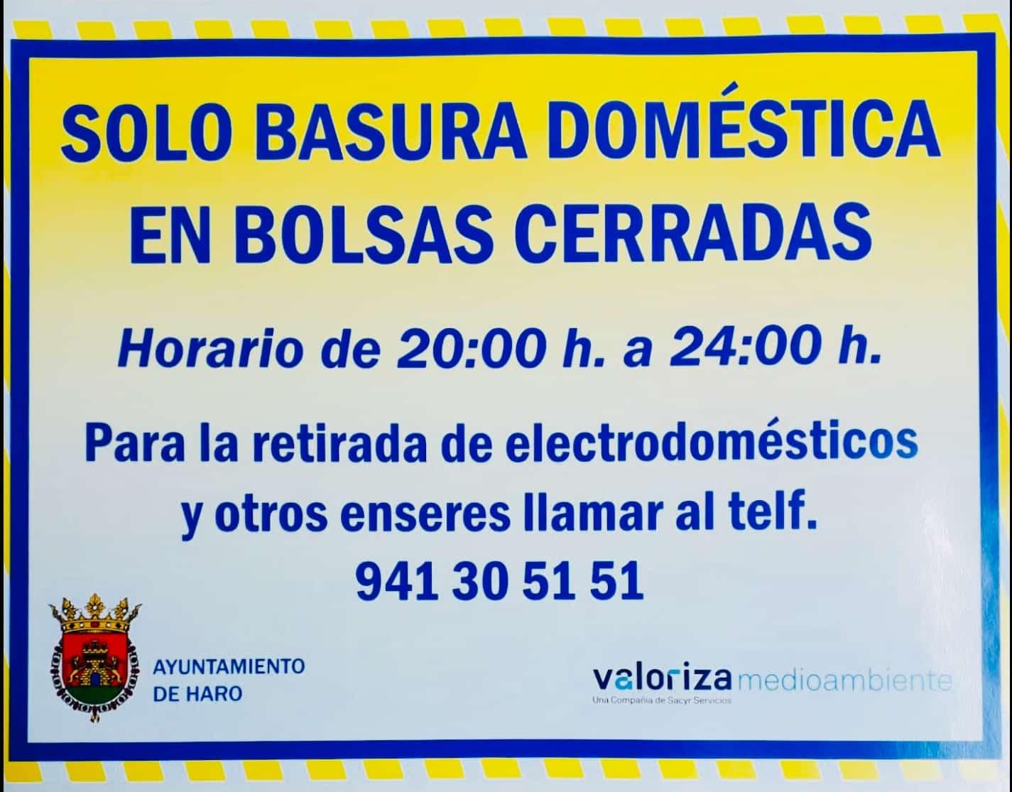 El Ayuntamiento de Haro recuerda la obligación de tirar la basura entre las 20:00 y las 00:00 horas 1
