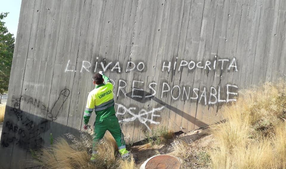 Pintadas en Haro contra la alcaldesa y el Gobierno del PSOE 2