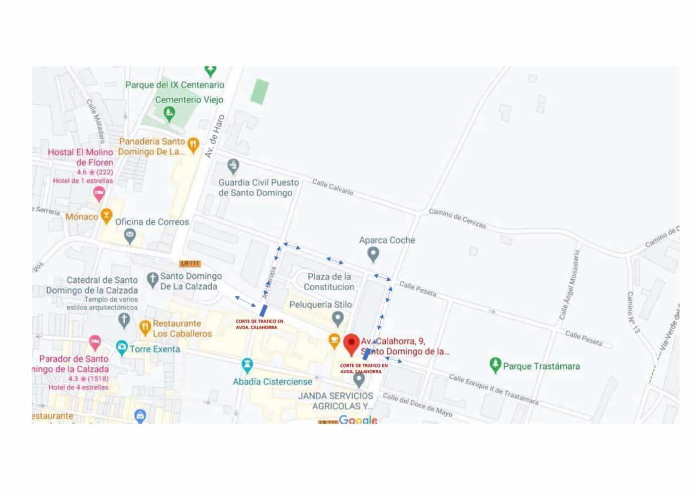 La carretera LR-111 en Santo Domingo permanecerá cortada al tráfico del 1 al 3 de marzo 1