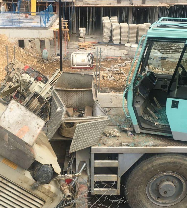 Aparatoso accidente en las obras del nuevo Mercadona en Haro 2