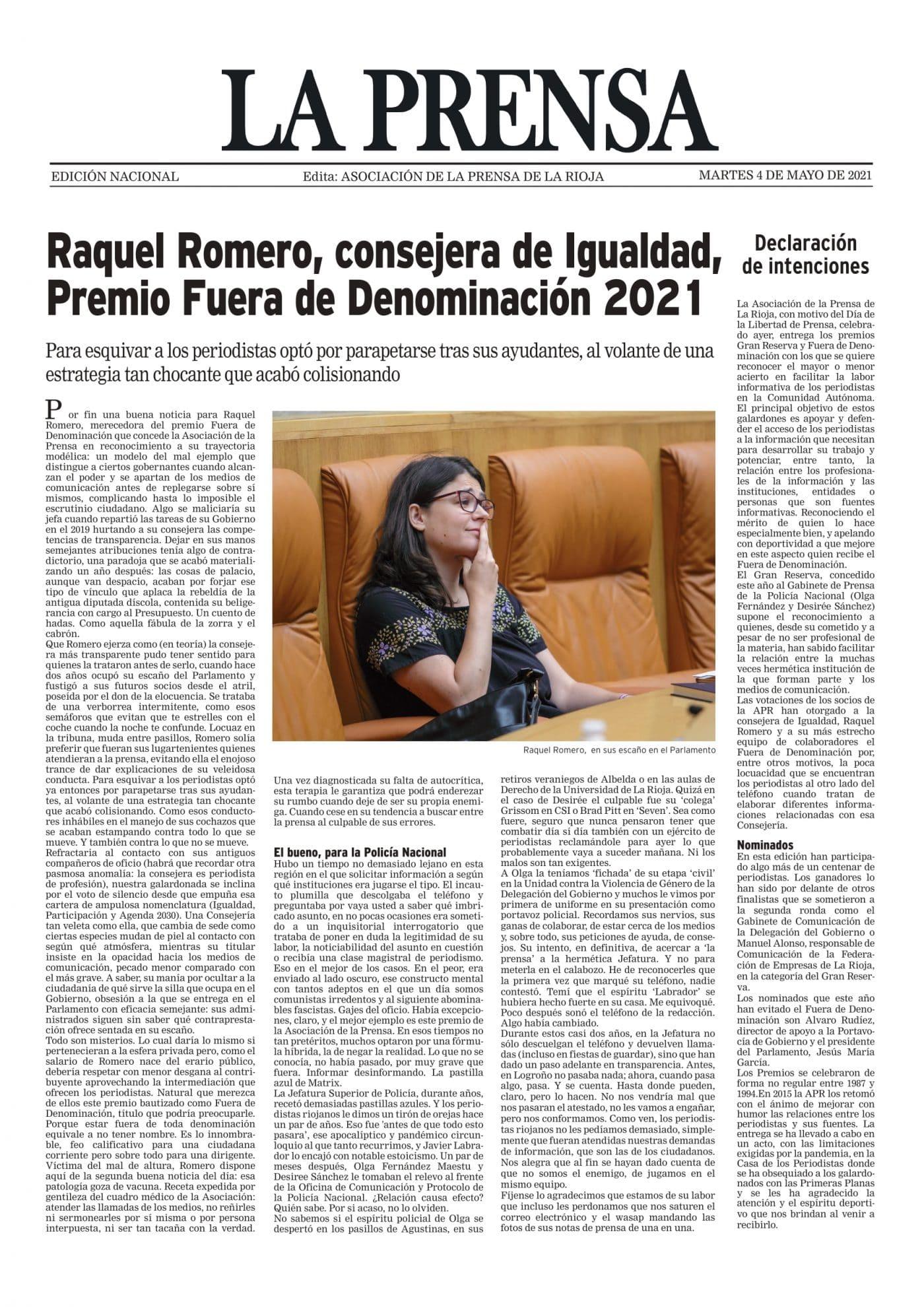 El gabinete de prensa de la Policía Nacional, Premio Gran Reserva de los periodistas riojanos 1