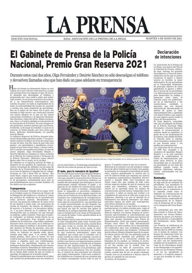El gabinete de prensa de la Policía Nacional, Premio Gran Reserva de los periodistas riojanos 2