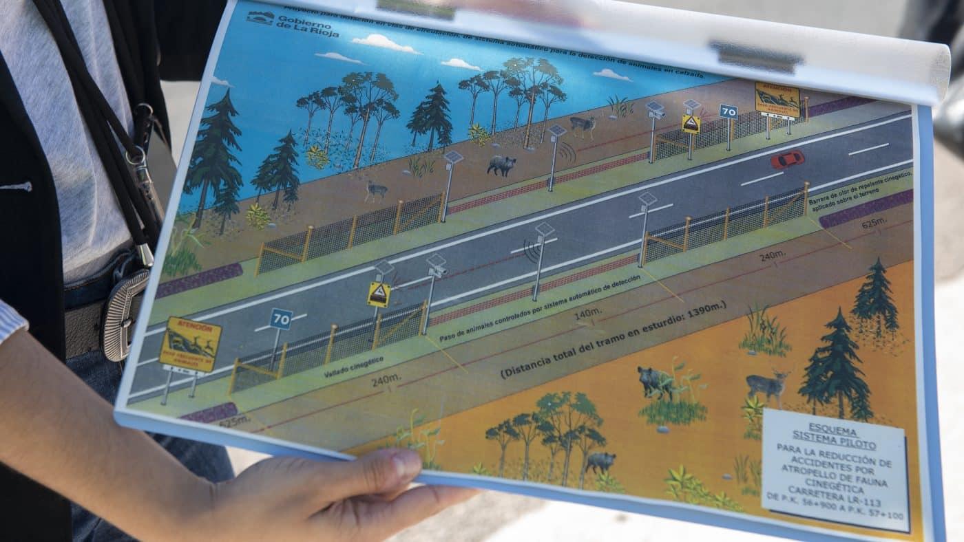 Proyecto piloto en Baños de Río Tobía para detectar animales que se aproximen a la carretera 1