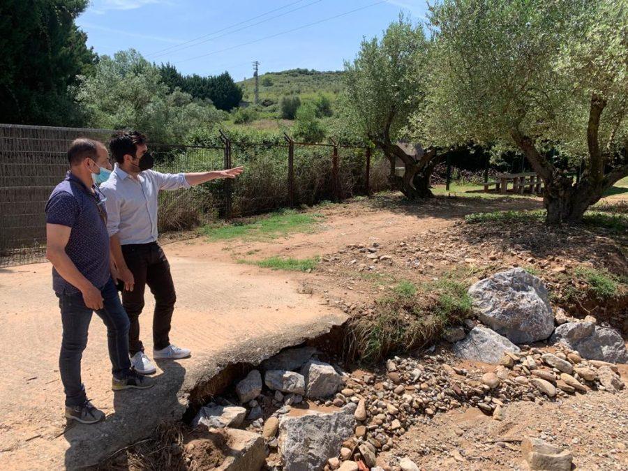 Andreu conoce de primera mano los daños ocasionados por el temporal en Fuenmayor 7