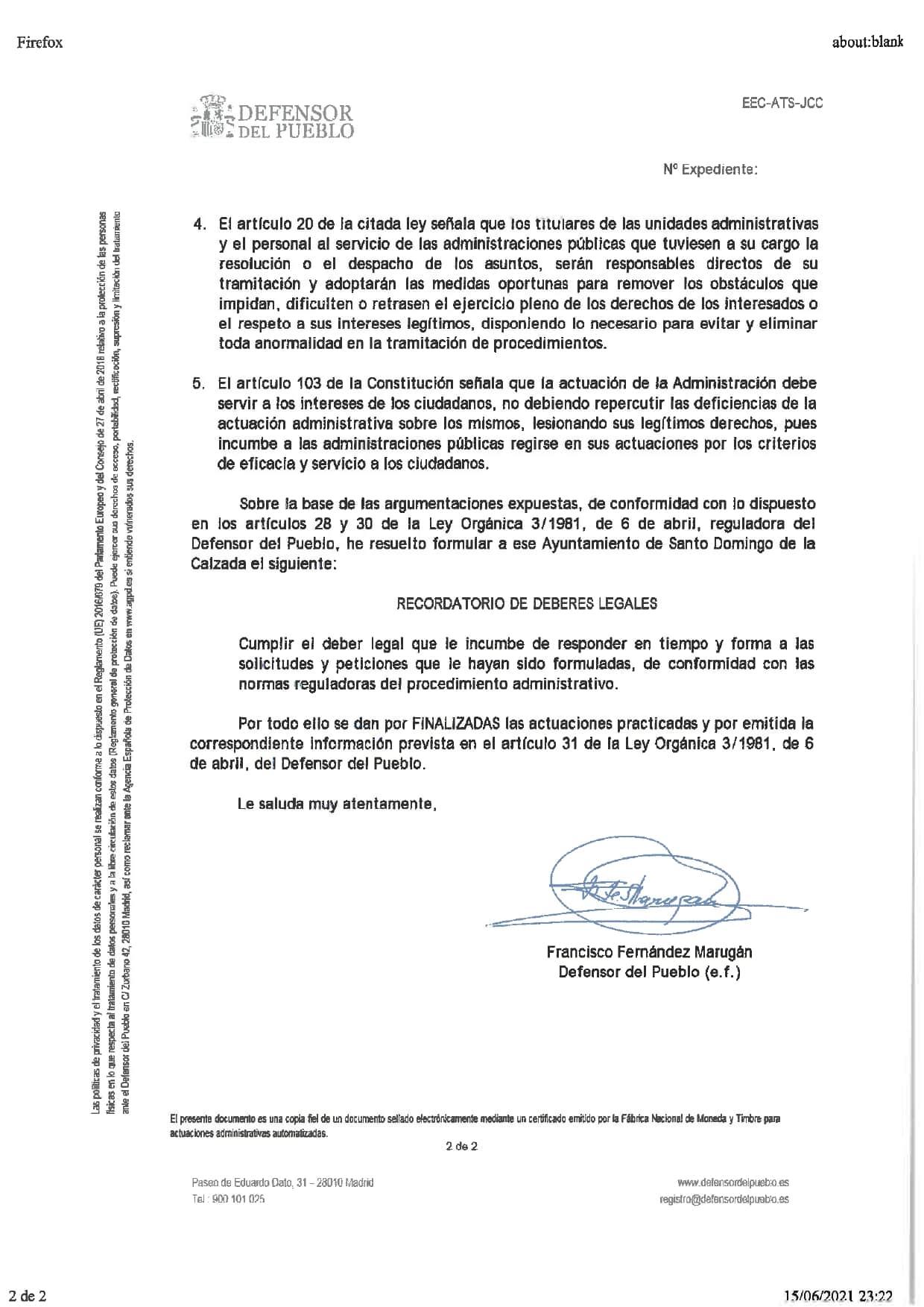 """El Defensor del Pueblo """"castiga"""" la gestión del Ayuntamiento de Santo Domingo 2"""