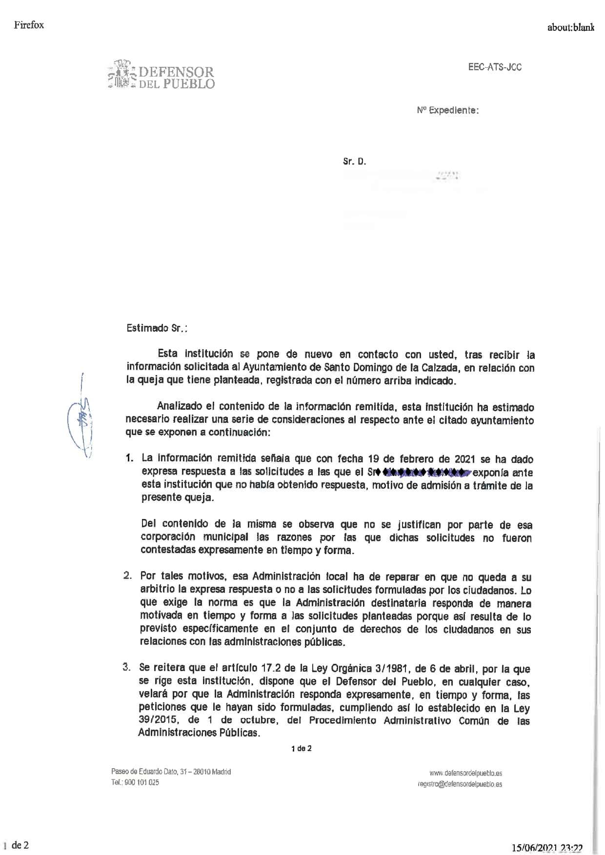 """El Defensor del Pueblo """"castiga"""" la gestión del Ayuntamiento de Santo Domingo 1"""