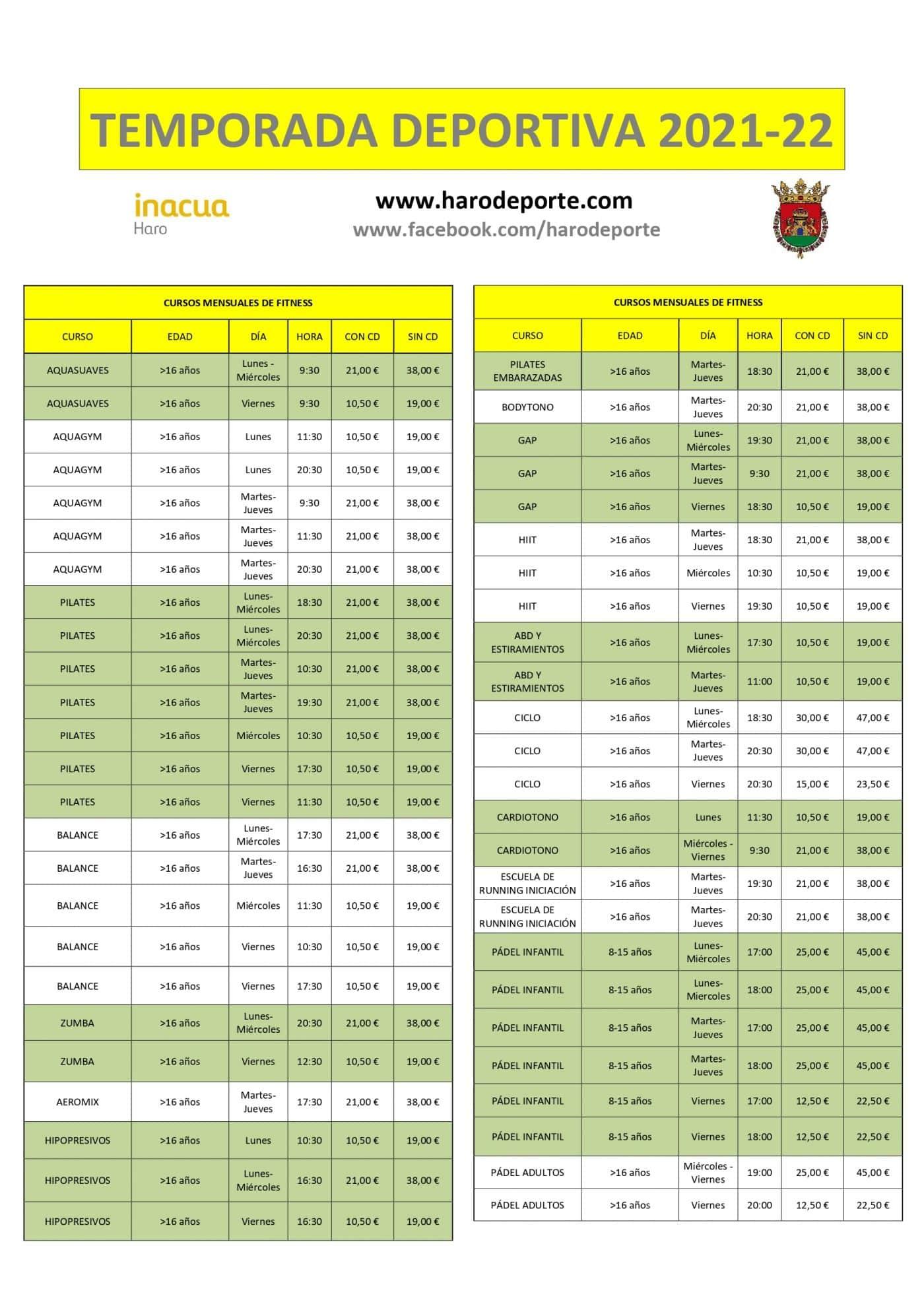 Abierto el plazo de inscripción para los cursos deportivos de Haro 2021-2022 1