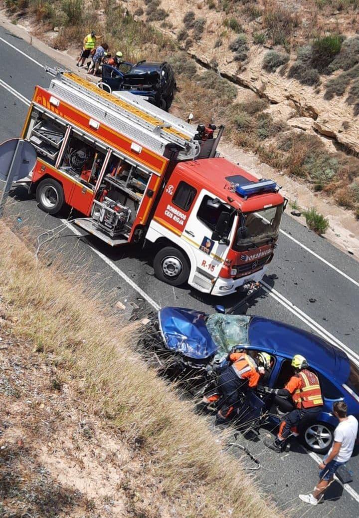 Un accidente en la N-232 obstaculiza el tráfico en Briones 1