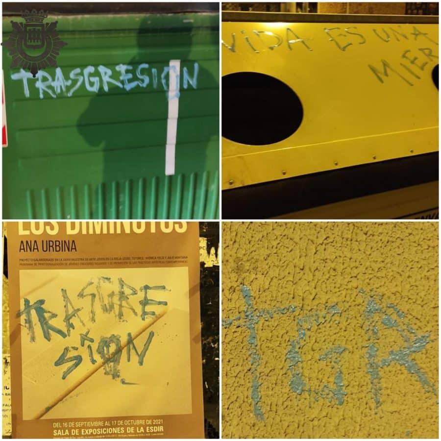 La Policía Local de Logroño denuncia a doce personas por perpetrar actos vandálicos durante el fin de semana 2
